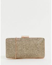 Lipsy - Glitter Clutch Bag In Gold - Lyst