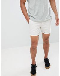 River Island - Linen Shorts In Stone - Lyst