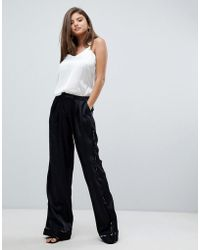 StyleStalker - Avalon Wide Leg Pants With Floral Print Piping - Lyst