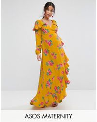 ASOS - Long Sleeve Wrap Maxi Dress In Bold Floral - Lyst