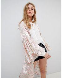 RahiCali - Floral Kimono In Silk Burnout - Lyst