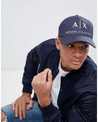 Armani Exchange - Ax Logo Baseball Cap In Navy - Lyst