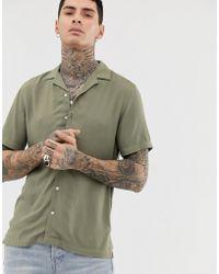 ASOS Regular Fit Viscose Shirt In Khaki