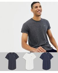 Hollister 3 Pack Curved Hem T-shirt Seagull Logo In White/navy/grey