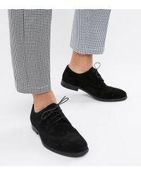 ASOS - Derby-Schuhe aus schwarzem Wildleder, weite Passform - Lyst