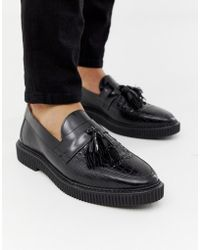 5bf56778476 House Of Hounds - Kain Creeper Tassel Loafers In Black Croc - Lyst