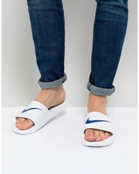 Nike - Kawa Sliders In White 832528-100 - Lyst