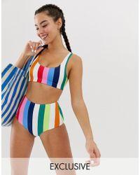 Monki - High Waisted Bikini Brief In Rainbow Print - Lyst