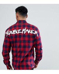 Just Junkies - Check Zip Shirt With Trouble Maker Back Print - Lyst