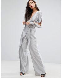 StyleStalker - Wide Leg Jumpsuit With Split Sleeves - Lyst