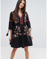 River Island | Embroidered Kimono Sleeve Dress | Lyst