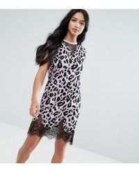 ASOS - Sleeveless T-shirt Dress With Lace Inserts In Leopard Print - Lyst