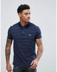 Lacoste - Stripe Logo Polo In Navy - Lyst