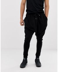 ASOS - Extreme Drop Crotch joggers In Lightweight Jersey In Black - Lyst