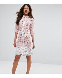 Vesper - Belted Shirt Midi Dress In Floral Print - Lyst