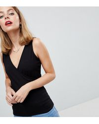 ASOS - Asos Design Petite Top With Wrap Front And Back - Lyst