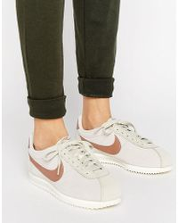 Nike - Classic Cortez Leather Luxe Trainers In Bone And Metallic Bronze - Lyst