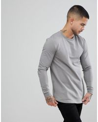 ASOS DESIGN - Asos Muscle Longline Sweatshirt With Side Zips & Curved Hem In Gray - Lyst