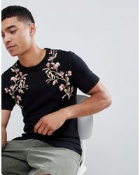 ASOS - Muscle Fit T-shirt With Floral Yoke Print - Lyst