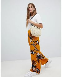 ONLY - Floral Wide Leg Trouser - Lyst