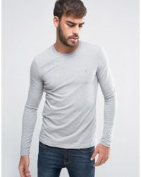 Farah - Southall Super Slim Muscle Fit Long Sleeve T-shirt Grey - Lyst