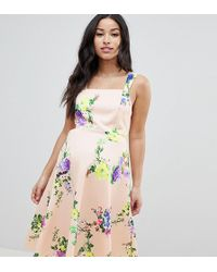 ASOS - Asos Design Maternity Midi Floral Prom Dress With Square Neck - Lyst