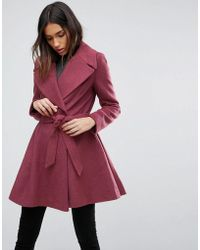 ASOS - Skater Coat With Self Belt And Oversized Collar - Lyst