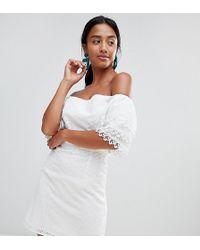 Little Mistress - Bardot Allover Broderie Mini Shift Dress In White - Lyst