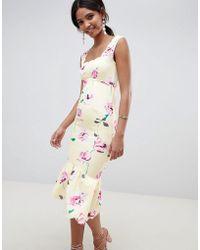 ASOS DESIGN - Floral Scallop Pephem Midi Dress - Lyst