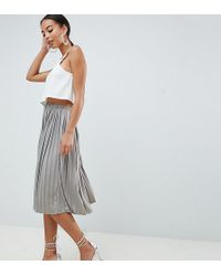 Missguided - Hammered Satin Pleated Midi Skirt In Metal Grey - Lyst