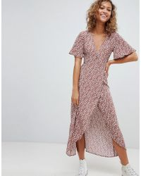 Pull&Bear - Floral Dress In Copper - Lyst
