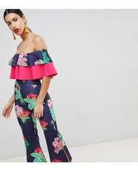 True Violet - Double Frill Culotte Jumpsuit With Split - Lyst