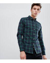 ASOS - Tall Skinny Check Shirt In Green - Lyst