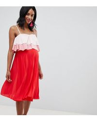 283d7e44a3 ASOS - Asos Design Maternity Nursing Tiered Double Layer Pleated Skirt Dress  - Lyst