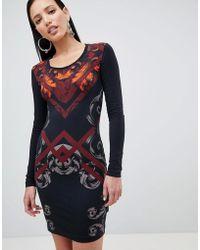 Versace Jeans - Baroque Print Bodycon Dress - Lyst