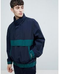 BOSS - Okroos Overhead Anorak In Navy/green - Lyst