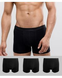 ASOS - Trunks In Black 3 Pack In Organic Cotton - Lyst