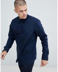 HUGO - Evory-logo Regular Fit Poplin Shirt In Navy - Lyst