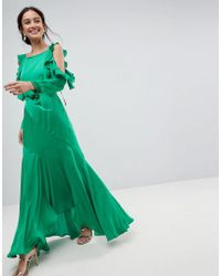 ASOS - Asos Ruffle Sleeve Maxi Dress With Cold Shoulder - Lyst