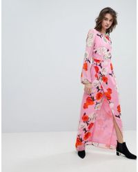 Gestuz - Rose Printed Maxi Dress With Open V Back - Lyst
