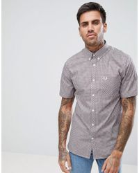 Fred Perry - Gingham Short Sleeve Shirt In Red - Lyst