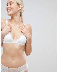 a58fc75a1d9d3 Monki - Triangle Lace Bra In White - Lyst