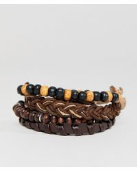 ASOS - Design Brown Leather And Beaded Bracelet Pack - Lyst