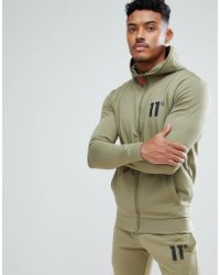 11 Degrees - Track Zip Up Hoodie In Khaki - Lyst