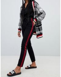 Monki - Kimomo High Waist Mom Jeans With Organic Cotton And Side Stripe Detail In Black - Lyst
