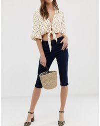 Vero Moda - Knee Length Skinny Jean Shorts - Lyst