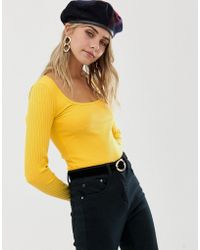 346571ffba4f55 Miss Selfridge - Rib Top With Square Neck In Yellow - Lyst