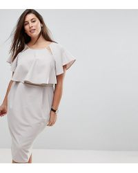 ASOS - Double Layer Midi Wiggle Dress With Angel Sleeve - Lyst