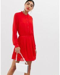 b262c380f1b44 UNIQUE21 - Unqiue21 Long Sleeve Collarless Pleated Dress - Lyst