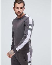 ASOS - Sweatshirt With Cut & Sew Ribbed Panel - Lyst